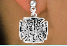 """<bR>                      EXCLUSIVELY OURS!!<BR>                AN ALLAN ROBIN DESIGN!!<BR>       CLICK HERE TO SEE 600+ EXCITING<BR>          CHANGES THAT YOU CAN MAKE!<BR>                     LEAD & NICKEL FREE!!<BR>     W979SE - PROTECT HIM PROTECT US""""<BR>            ST. FLORIAN FIREMAN SHIELD<Br>         EARRINGS FROM $4.50 TO $8.35"""
