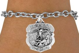 """<bR>                    EXCLUSIVELY OURS!!<BR>              AN ALLAN ROBIN DESIGN!!<BR>     CLICK HERE TO SEE 600+ EXCITING<BR>        CHANGES THAT YOU CAN MAKE!<BR>                   LEAD & NICKEL FREE!!<BR>  W980SB - """"PROTECT HIM PROTECT US"""" <BR>      POLICE MAN ST. MICHAEL SHIELD &<Br>         BRACELET FROM $4.15 TO $8.00"""