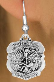 """<bR>                      EXCLUSIVELY OURS!!<BR>                AN ALLAN ROBIN DESIGN!!<BR>       CLICK HERE TO SEE 600+ EXCITING<BR>          CHANGES THAT YOU CAN MAKE!<BR>                     LEAD & NICKEL FREE!!<BR>     W980SE - PROTECT HIM PROTECT US""""<BR>      POLICE MAN ST. MICHAEL SHIELD &<Br>         EARRINGS FROM $4.50 TO $8.35"""