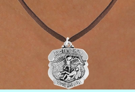 """<bR>                      EXCLUSIVELY OURS!!<BR>                AN ALLAN ROBIN DESIGN!!<BR>       CLICK HERE TO SEE 600+ EXCITING<BR>          CHANGES THAT YOU CAN MAKE!<BR>                     LEAD & NICKEL FREE!!<BR>    W980SN - """"PROTECT HIM PROTECT US""""<BR>      POLICE MAN ST. MICHAEL SHIELD &<Br>         NECKLACE FROM $4.50 TO $8.35"""