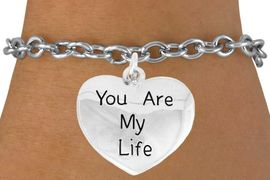 "<bR>               EXCLUSIVELY OURS!!<BR>         AN ALLAN ROBIN DESIGN!!<BR>CLICK HERE TO SEE 600+ EXCITING<BR>   CHANGES THAT YOU CAN MAKE!<BR>              LEAD & NICKEL FREE!!<BR>  W981SB - ""YOU ARE MY LIFE"" &<Br>   BRACELET FROM $4.15 TO $8.00"