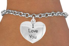 "<bR>               EXCLUSIVELY OURS!!<BR>         AN ALLAN ROBIN DESIGN!!<BR>CLICK HERE TO SEE 600+ EXCITING<BR>   CHANGES THAT YOU CAN MAKE!<BR>              LEAD & NICKEL FREE!!<BR>  W984SB - ""I LOVE YOU"" &<Br>   BRACELET FROM $4.15 TO $8.00"