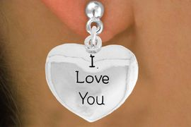 """<bR>               EXCLUSIVELY OURS!!<BR>         AN ALLAN ROBIN DESIGN!!<BR>CLICK HERE TO SEE 600+ EXCITING<BR>   CHANGES THAT YOU CAN MAKE!<BR>              LEAD & NICKEL FREE!!<BR>     W984SE - """"I LOVE YOU""""<Br>  EARRINGS FROM $4.50 TO $8.35"""