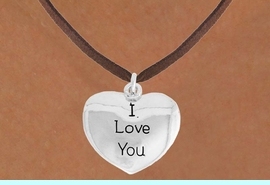 """<bR>               EXCLUSIVELY OURS!!<BR>         AN ALLAN ROBIN DESIGN!!<BR>CLICK HERE TO SEE 600+ EXCITING<BR>   CHANGES THAT YOU CAN MAKE!<BR>              LEAD & NICKEL FREE!!<BR>    W984SN - """"I LOVE YOU""""<Br>  NECKLACE FROM $4.50 TO $8.35"""