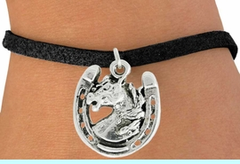 """<bR>               EXCLUSIVELY OURS!!<BR>         AN ALLAN ROBIN DESIGN!!<BR>CLICK HERE TO SEE 600+ EXCITING<BR>   CHANGES THAT YOU CAN MAKE!<BR>              LEAD & NICKEL FREE!!<BR>W986SB - """"STALLION ON HORSESHOE"""" <Br>   & BRACELET FROM $4.15 TO $8.00"""