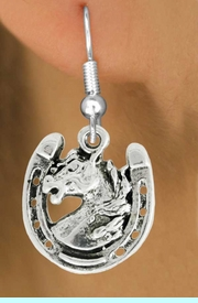 """<bR>               EXCLUSIVELY OURS!!<BR>         AN ALLAN ROBIN DESIGN!!<BR>CLICK HERE TO SEE 600+ EXCITING<BR>   CHANGES THAT YOU CAN MAKE!<BR>              LEAD & NICKEL FREE!!<BR>W986SE - """"STALLION ON HORSE SHOE""""<Br>  EARRINGS FROM $4.50 TO $8.35"""