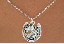 """<bR>               EXCLUSIVELY OURS!!<BR>         AN ALLAN ROBIN DESIGN!!<BR>CLICK HERE TO SEE 600+ EXCITING<BR>   CHANGES THAT YOU CAN MAKE!<BR>              LEAD & NICKEL FREE!!<BR>W986SN - """"STALLION ON HORSE SHOE""""<Br>  NECKLACE FROM $4.50 TO $8.35"""