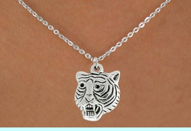 """<bR>               EXCLUSIVELY OURS!!<BR>         AN ALLAN ROBIN DESIGN!!<BR>CLICK HERE TO SEE 600+ EXCITING<BR>   CHANGES THAT YOU CAN MAKE!<BR>              LEAD & NICKEL FREE!!<BR>         W989SN - """"TIGER HEAD""""<Br>  NECKLACE FROM $4.50 TO $8.35"""
