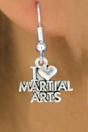 """<bR>               EXCLUSIVELY OURS!!<BR>         AN ALLAN ROBIN DESIGN!!<BR>CLICK HERE TO SEE 600+ EXCITING<BR>   CHANGES THAT YOU CAN MAKE!<BR>              LEAD & NICKEL FREE!!<BR>W991SE - """"I LOVE MARTIAL ARTS""""<Br>  EARRINGS FROM $4.50 TO $8.35"""