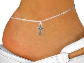 """<bR>               EXCLUSIVELY OURS!!<BR>         AN ALLAN ROBIN DESIGN!!<BR>CLICK HERE TO SEE 600+ EXCITING<BR>   CHANGES THAT YOU CAN MAKE!<BR>              LEAD & NICKEL FREE!!<BR> W996SAK - """"CROSS WITH SWILRS""""<Br>     ANKLET FROM $3.35 TO $8.00"""