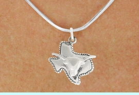 """<bR>               EXCLUSIVELY OURS!!<BR>         AN ALLAN ROBIN DESIGN!!<BR>CLICK HERE TO SEE 600+ EXCITING<BR>   CHANGES THAT YOU CAN MAKE!<BR>              LEAD & NICKEL FREE!!<BR>     W997SN - """"TEXAS LONGHORN""""<Br>  NECKLACE FROM $4.50 TO $8.35"""