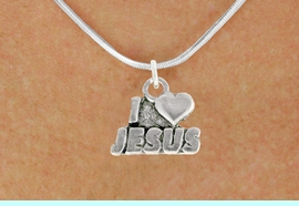 """<bR>               EXCLUSIVELY OURS!!<BR>         AN ALLAN ROBIN DESIGN!!<BR>CLICK HERE TO SEE 600+ EXCITING<BR>   CHANGES THAT YOU CAN MAKE!<BR>              LEAD & NICKEL FREE!!<BR>          W998SN - """"I LOVE JESUS""""<Br>  NECKLACE FROM $4.50 TO $8.35"""