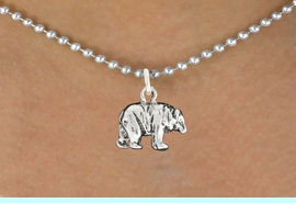 """<bR>               EXCLUSIVELY OURS!!<BR>         AN ALLAN ROBIN DESIGN!!<BR>CLICK HERE TO SEE 600+ EXCITING<BR>   CHANGES THAT YOU CAN MAKE!<BR>              LEAD & NICKEL FREE!!<BR>                W999SN - """"BEAR""""<Br>  NECKLACE FROM $4.50 TO $8.35"""