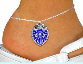 <bR>                    EXCLUSIVELY OURS!!<BR>              AN ALLAN ROBIN DESIGN!! <BR>     LEAD, NICKEL & CADMIUM FREE!!<BR>W1329SAK - DETAILED POLICE BADGE <BR>WITH BLUE CRYSTAL CHARM AND ANKLET <Br>         FROM $5.40 TO $9.85 �2012