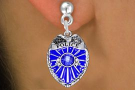 <bR>                 EXCLUSIVELY OURS!!<Br>           AN ALLAN ROBIN DESIGN!!<BR>     LEAD, NICKEL & CADMIUM FREE!! <BR>W1329SE - DETAILED POLICE BADGE <BR>WITH BLUE CRYSTAL CHARM EARRINGS <BR>       FROM $4.95 TO $10.00 �2012