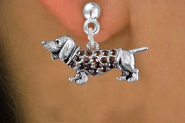 <bR>                 EXCLUSIVELY OURS!!<Br>           AN ALLAN ROBIN DESIGN!!<BR>     LEAD, NICKEL & CADMIUM FREE!! <BR>W1357SE - DETAILED DACHSHUND <BR>WITH TOPAZ CRYSTALS CHARM EARRINGS <BR>       FROM $4.95 TO $10.00 �2012