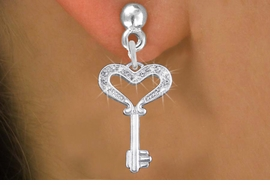 "<bR>                 EXCLUSIVELY OURS!!<Br>           AN ALLAN ROBIN DESIGN!!<BR>     LEAD, NICKEL & CADMIUM FREE!! <BR>W1365SE - ""KEY TO MY HEART"" <BR>  CRYSTAL CHARM EARRINGS <BR>       FROM $4.95 TO $10.00 �2012"