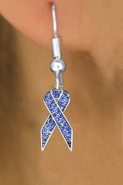 <bR>                 EXCLUSIVELY OURS!! <Br>             AN ALLAN ROBIN DESIGN!!<BR>       LEAD, NICKEL & CADMIUM FREE!! <BR>  W1387SE - BLUE AWARENESS CRYSTAL <BR>     RIBBON CHARM EARRINGS <BR>         FROM $4.95 TO $10.00 �2013