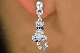 <bR>                  EXCLUSIVELY OURS!! <Br>              AN ALLAN ROBIN DESIGN!!<BR>        LEAD, NICKEL & CADMIUM FREE!! <BR>   W1394SE - SILVER TONE AND JET CRYSTAL <BR>       SITTING CAT CHARM EARRINGS <BR>          FROM $4.95 TO $10.00 �2013