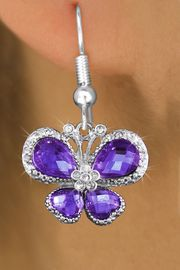 <bR>                  EXCLUSIVELY OURS!! <Br>              AN ALLAN ROBIN DESIGN!!<BR>        LEAD, NICKEL & CADMIUM FREE!! <BR>   W1397SE - SILVER TONE AND PURPLE <BR>  CRYSTAL BUTTERFLY CHARM EARRINGS <BR>          FROM $4.95 TO $10.00 �2013