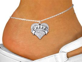 """<bR>                 EXCLUSIVELY OURS!! <BR>            AN ALLAN ROBIN DESIGN!! <BR>      LEAD, NICKEL & CADMIUM FREE!! <BR> W1408SAK - SILVER TONE """"CHEER"""" CLEAR <BR>     CRYSTAL HEART CHARM AND ANKLET <Br>          FROM $5.40 TO $9.85 �2013"""