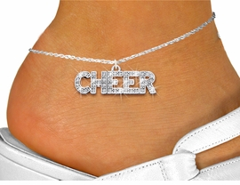 """<bR>                 EXCLUSIVELY OURS!! <BR>            AN ALLAN ROBIN DESIGN!! <BR>      LEAD, NICKEL & CADMIUM FREE!! <BR> W1410SAK - SILVER TONE AND CRYSTAL <BR>      """"CHEER"""" WORD CHARM AND ANKLET <Br>          FROM $5.40 TO $9.85 �2013"""