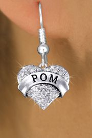 "<bR>              EXCLUSIVELY OURS!! <Br>         AN ALLAN ROBIN DESIGN!! <BR>   LEAD, NICKEL & CADMIUM FREE!! <BR> W1411SE - SILVER TONE ""POM"" CLEAR <BR>    CRYSTAL HEART CHARM EARRINGS <BR>      FROM $4.95 TO $10.00 �2013"