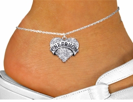 """<bR>                  EXCLUSIVELY OURS!! <BR>             AN ALLAN ROBIN DESIGN!! <BR>       LEAD, NICKEL & CADMIUM FREE!! <BR>  W1412SAK - SILVER TONE """"CHEER MOM"""" <BR> CLEAR CRYSTAL HEART CHARM AND ANKLET <Br>           FROM $5.40 TO $9.85 �2013"""