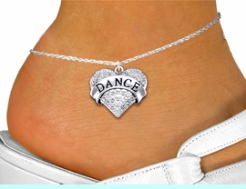 """<bR>                  EXCLUSIVELY OURS!! <BR>             AN ALLAN ROBIN DESIGN!! <BR>       LEAD, NICKEL & CADMIUM FREE!! <BR>  W1414SAK - SILVER TONE """"DANCE"""" CLEAR <BR>      CRYSTAL HEART CHARM AND ANKLET <Br>           FROM $5.40 TO $9.85 �2013"""