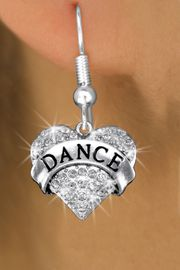 "<bR>              EXCLUSIVELY OURS!! <Br>         AN ALLAN ROBIN DESIGN!! <BR>   LEAD, NICKEL & CADMIUM FREE!! <BR> W1414SE - SILVER TONE ""DANCE"" CLEAR <BR>    CRYSTAL HEART CHARM EARRINGS <BR>                  $10.68 EACH �2013"