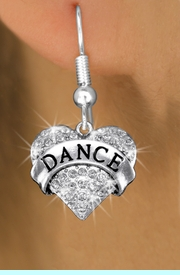 """<bR>              EXCLUSIVELY OURS!! <Br>         AN ALLAN ROBIN DESIGN!! <BR>   LEAD, NICKEL & CADMIUM FREE!! <BR> W1414SE - SILVER TONE """"DANCE"""" CLEAR <BR>    CRYSTAL HEART CHARM EARRINGS <BR>                  $10.68 EACH �2013"""