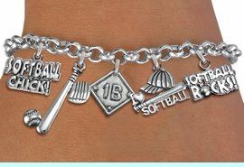 <BR><B> CHOOSE YOUR PLAYERS  POSITION TO PUT ON THE CHARM</B><BR><BR>NICKLE, LEAD, AND POISONOUS CADMIUM FREE<BR>IT IS WHAT YOU DO NOT SEE THAT MATTERS�2020  <Br>ADJUSTABLE CHARM BRACELET FITS SMALL CHILD TO ADULT<BR>W19360B - SILVER TONE SOFTBALL THEME FIVE CHARM BRACELET <BR> SOFTBALL DIAMOND CHARM WITH YOUR PLAYING POSITION <BR>OR IF YOU MADE A HOME RUN.  $7.38 EACH  �2012