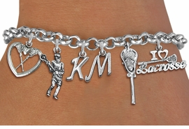 <Br>              EXCLUSIVELY OURS!!<Br>        AN ALLAN ROBIN DESIGN!!<Br>             LEAD & NICKEL FREE!! <BR>THIS IS A PERSONALIZED ITEM <Br>W19403B - SILVER TONE LACROSSE <BR>     THEMED FIVE CHARM BRACELET <BR>    WITH PERSONALIZED INITIALS <BR>     FROM $8.44 TO $18.75  �2012