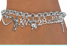 <Br>              EXCLUSIVELY OURS!!<Br>        AN ALLAN ROBIN DESIGN!!<Br>             LEAD & NICKEL FREE!! <BR>THIS IS A PERSONALIZED ITEM <Br>W19405B - SILVER TONE LACROSSE <BR>THEMED NINE CHARM BRACELET WITH <BR>YOUR TEAM NUMBER AND INITIALS <BR>    FROM $14.96 TO $26.25  �2012
