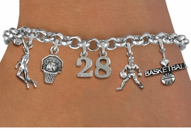 <Br>              EXCLUSIVELY OURS!!<Br>        AN ALLAN ROBIN DESIGN!!<Br>             LEAD & NICKEL FREE!! <BR>        THIS IS A PERSONALIZED ITEM <Br>W19408B - SILVER TONE BASKETBALL <BR>     THEMED FIVE CHARM BRACELET <BR> WITH PERSONALIZED TEAM NUMBER <BR>     FROM $8.44 TO $18.75  �2012