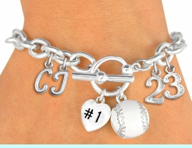 <Br>              EXCLUSIVELY OURS!!<Br>        AN ALLAN ROBIN DESIGN!!<Br>             LEAD & NICKEL FREE!! <BR>THIS IS A PERSONALIZED ITEM <Br>W19419B - SILVER TONE BASEBALL <BR>THEMED CHARM BRACELET WITH <BR>YOUR TEAM NUMBER AND INITIALS <BR>    FROM $8.10 TO $18.00 �2012