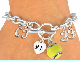 <Br>              EXCLUSIVELY OURS!!<Br>        AN ALLAN ROBIN DESIGN!!<Br>             LEAD & NICKEL FREE!! <BR>THIS IS A PERSONALIZED ITEM <Br>W19420B - SILVER TONE SOFTBALL <BR>THEMED CHARM BRACELET WITH <BR>YOUR TEAM NUMBER AND INITIALS <BR>    FROM $8.10 TO $18.00 �2012