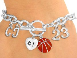 <Br>              EXCLUSIVELY OURS!!<Br>        AN ALLAN ROBIN DESIGN!!<Br>             LEAD & NICKEL FREE!! <BR>THIS IS A PERSONALIZED ITEM <Br>W19422B - SILVER TONE BASKETBALL <BR>THEMED CHARM BRACELET WITH <BR>YOUR TEAM NUMBER AND INITIALS <BR>    FROM $8.10 TO $18.00 �2012