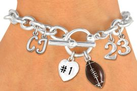 <Br>              EXCLUSIVELY OURS!!<Br>        AN ALLAN ROBIN DESIGN!!<Br>             LEAD & NICKEL FREE!! <BR>THIS IS A PERSONALIZED ITEM <Br>W19424B - SILVER TONE FOOTBALL <BR>THEMED CHARM BRACELET WITH <BR>YOUR TEAM NUMBER AND INITIALS <BR>    FROM $8.10 TO $18.00 �2012