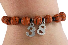 <Br>              EXCLUSIVELY OURS!!<Br>        AN ALLAN ROBIN DESIGN!!<Br>             LEAD & NICKEL FREE!! <BR>        THIS IS A PERSONALIZED ITEM <Br>W19468B - DETAILED BASKETBALL <BR>       THEMED STRETCH BRACELET <BR> WITH PERSONALIZED TEAM NUMBER <BR>     FROM $3.94 TO $8.75  �2012