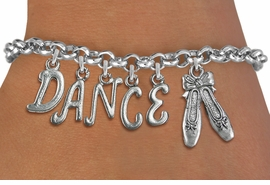 "<Br>              EXCLUSIVELY OURS!!<Br>        AN ALLAN ROBIN DESIGN!!<Br>             LEAD & NICKEL FREE!! <BR>        THIS IS A PERSONALIZED ITEM <Br>W19507B - SILVER TONE ""DANCE"" <BR> BALLET THEMED CHARM BRACELET  <BR>     FROM $8.44 TO $18.75  �2012"