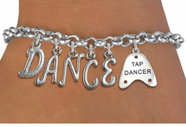 "<Br>              EXCLUSIVELY OURS!!<Br>        AN ALLAN ROBIN DESIGN!!<Br>             LEAD & NICKEL FREE!! <BR>        THIS IS A PERSONALIZED ITEM <Br>W19508B - SILVER TONE ""TAP DANCER""  <BR>""DANCE"" THEMED CHARM BRACELET  <BR>     FROM $8.44 TO $18.75  �2012"