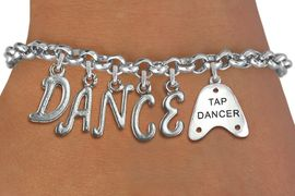 """<Br>              EXCLUSIVELY OURS!!<Br>        AN ALLAN ROBIN DESIGN!!<Br>             LEAD & NICKEL FREE!! <BR>        THIS IS A PERSONALIZED ITEM <Br>W19508B - SILVER TONE """"TAP DANCER""""  <BR>""""DANCE"""" THEMED CHARM BRACELET  <BR>     FROM $8.44 TO $18.75  �2012"""