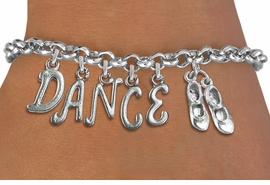 "<Br>              EXCLUSIVELY OURS!!<Br>        AN ALLAN ROBIN DESIGN!!<Br>             LEAD & NICKEL FREE!! <BR>        THIS IS A PERSONALIZED ITEM <Br>W19509B - SILVER TONE ""TAP SHOES""  <BR>""DANCE"" THEMED CHARM BRACELET  <BR>     FROM $8.44 TO $18.75  �2012"