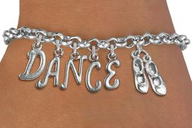 """<Br>              EXCLUSIVELY OURS!!<Br>        AN ALLAN ROBIN DESIGN!!<Br>             LEAD & NICKEL FREE!! <BR>        THIS IS A PERSONALIZED ITEM <Br>W19509B - SILVER TONE """"TAP SHOES""""  <BR>""""DANCE"""" THEMED CHARM BRACELET  <BR>     FROM $8.44 TO $18.75  �2012"""