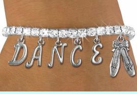 """<Br>              EXCLUSIVELY OURS!!<Br>        AN ALLAN ROBIN DESIGN!!<Br>             LEAD & NICKEL FREE!! <BR>        THIS IS A PERSONALIZED ITEM <Br>W19510B - AUSTRIAN CRYSTAL BALLET <BR> """"DANCE"""" THEMED CHARM BRACELET  <BR>     FROM $9.56 TO $21.25  �2012"""