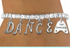 """<Br>              EXCLUSIVELY OURS!!<Br>        AN ALLAN ROBIN DESIGN!!<Br>             LEAD & NICKEL FREE!! <BR>        THIS IS A PERSONALIZED ITEM <Br>W19512B - CLEAR CRYSTAL """"TAP DANCER"""" <BR> """"DANCE"""" THEMED CHARM BRACELET  <BR>     FROM $9.56 TO $21.25  �2012"""