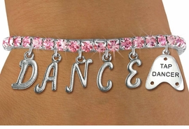 "<Br>              EXCLUSIVELY OURS!!<Br>        AN ALLAN ROBIN DESIGN!!<Br>             LEAD & NICKEL FREE!! <BR>        THIS IS A PERSONALIZED ITEM <Br>W19513B - ROSE CRYSTAL ""TAP DANCER"" <BR> ""DANCE"" THEMED CHARM BRACELET  <BR>     FROM $9.56 TO $21.25  �2012"