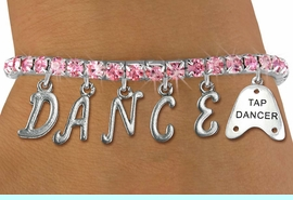 """<Br>              EXCLUSIVELY OURS!!<Br>        AN ALLAN ROBIN DESIGN!!<Br>             LEAD & NICKEL FREE!! <BR>        THIS IS A PERSONALIZED ITEM <Br>W19513B - ROSE CRYSTAL """"TAP DANCER"""" <BR> """"DANCE"""" THEMED CHARM BRACELET  <BR>     FROM $9.56 TO $21.25  �2012"""