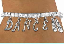 """<Br>              EXCLUSIVELY OURS!!<Br>        AN ALLAN ROBIN DESIGN!!<Br>             LEAD & NICKEL FREE!! <BR>        THIS IS A PERSONALIZED ITEM <Br>W19514B - AUSTRIAN CRYSTAL TAP SHOES <BR> """"DANCE"""" THEMED CHARM BRACELET  <BR>     FROM $9.56 TO $21.25  �2012"""